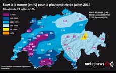 Les écarts de précipitations en juillet par rapport à la moyenne. [www.meteonews.ch]