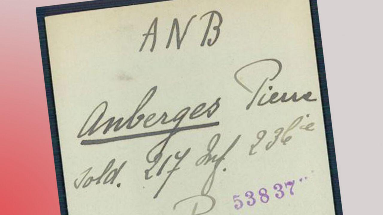 Un exemple de fiche d'un soldat français numérisée par le CICR.