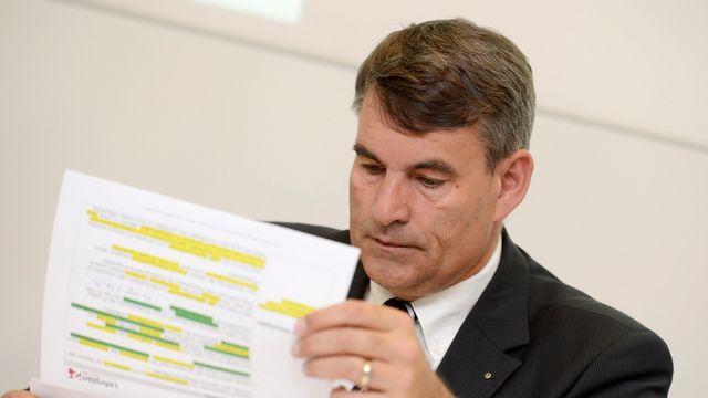 Christian Amsler, président de la Conférence alémanique des directeurs cantonaux de l'Instruction publique, lors de la présentation du Lehrplan 21 en avril dernier. [Keystone]