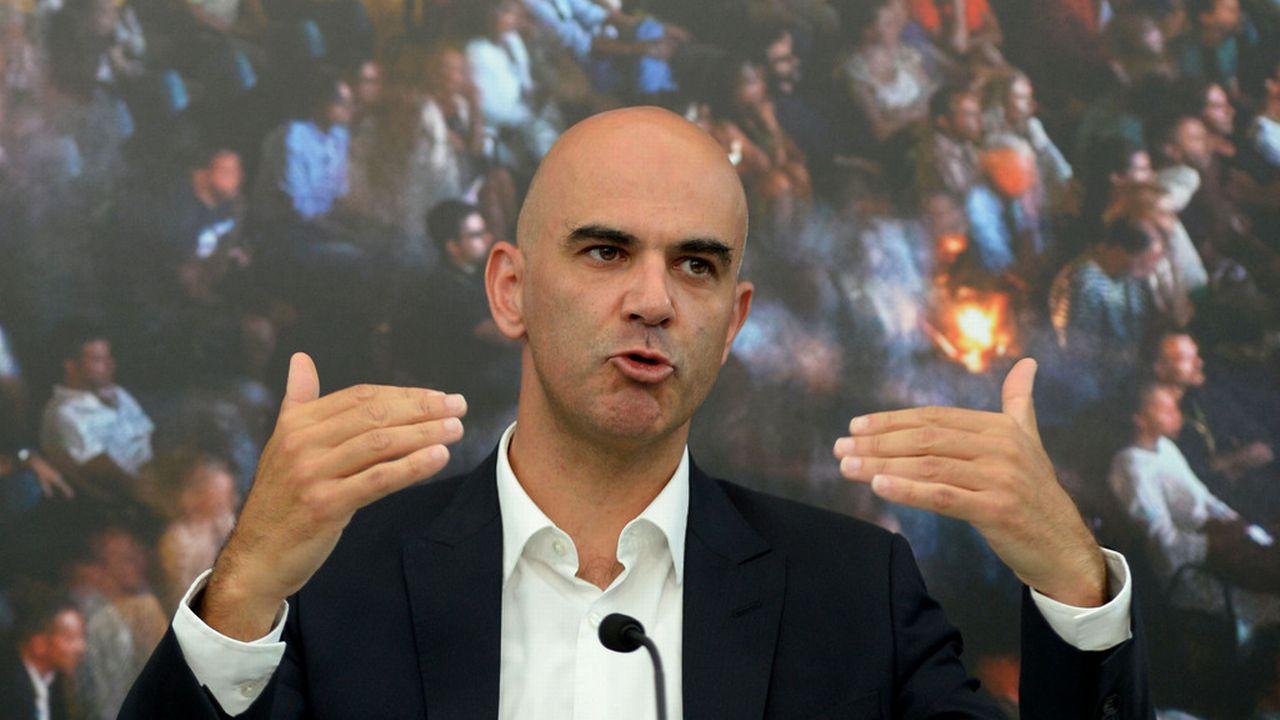 Alain Berset, lors d'une conférence de presse à Locarno, le 7 août 2014. [Urs Flueeler - Keystone]