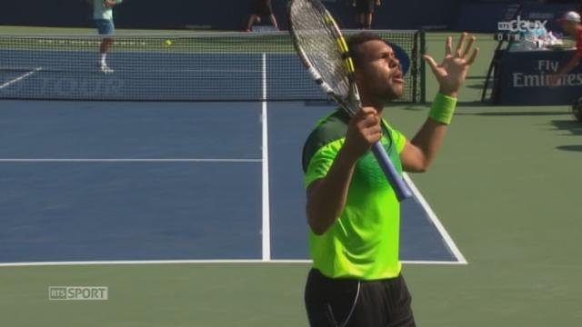 Finale, Federer - Tsonga (5-7, 4-5): dans un jeu interminable, le Suisse doit s'employer pour sauver une balle de match en faveur de Tsonga [RTS]