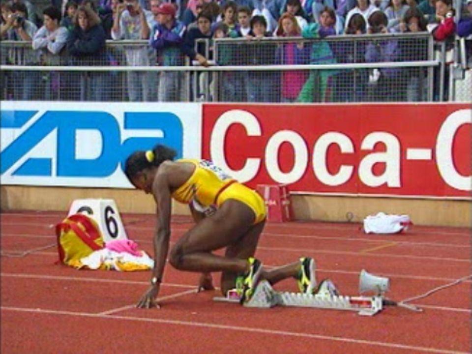 A Lausanne, Merlene Ottey remporte le 100 m. dames.