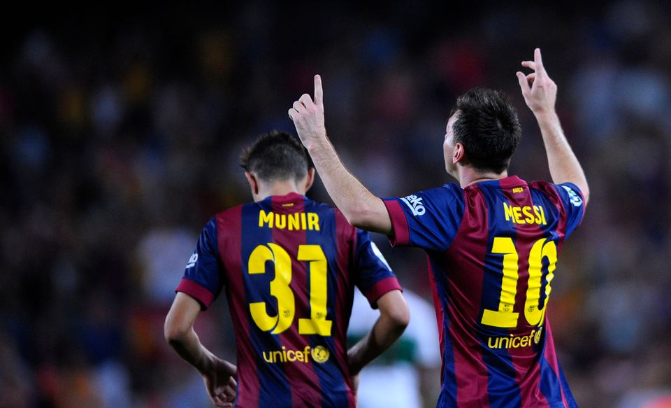 Munir El Haddadi et Lionel Messi, les deux buteurs de la soirée. [Manu Fernandez - Keystone]