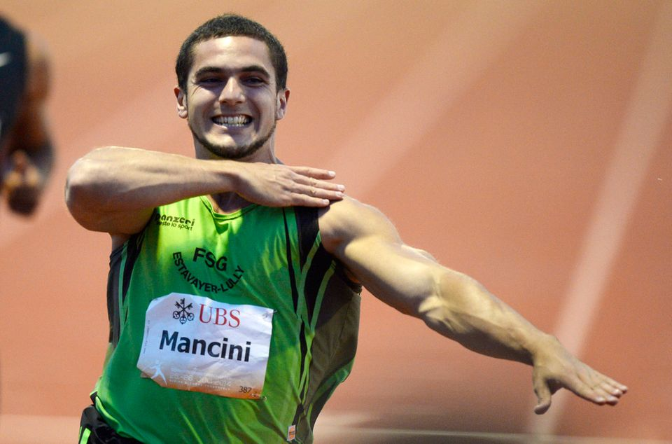 Mancini avait mimé le geste lors de sa victoire à Frauenfeld. [Steffen Schmidt - Keystone]