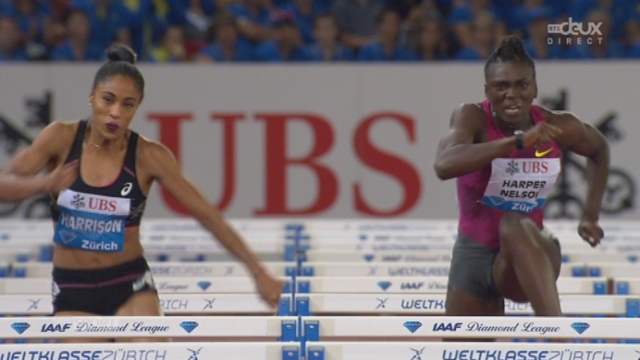 100 m haies: chutes pour Cindy Billaud (FRA) et (USA) Queen Harrison , victoire pour Dawn  Harper-Nelson en 12''54 [RTS]
