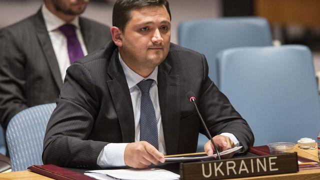 Le représentant ukrainien Oleksandr Pavlichenko jeudi devant le Conseil de sécurité de l'ONU. [Andrew Burton/Getty Images - AFP]