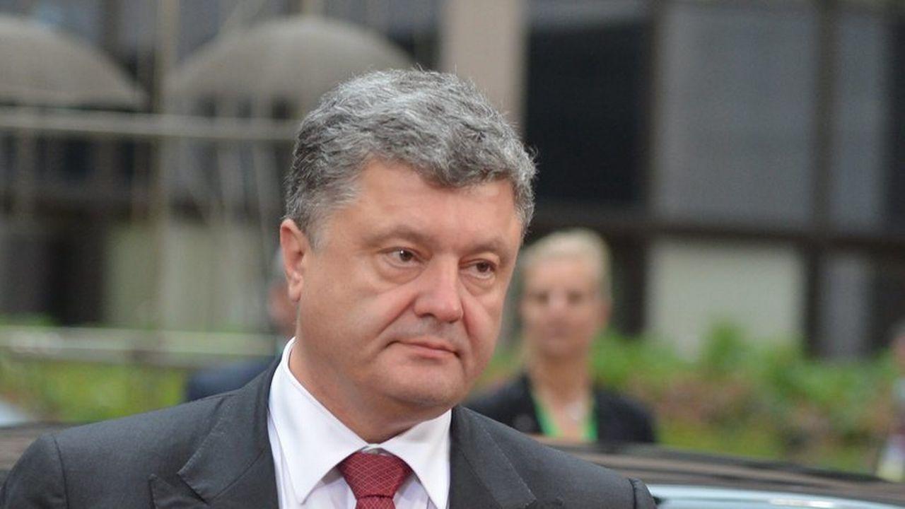 Le président ukrainien Petro Poroshenko lors de son arrivée au sommet extraordinaire de l'Union européenne à Bruxelles. [EPA/Stéphanie Lecocq - Keystone]