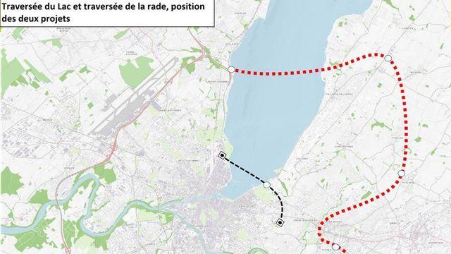La traversée de la rade (noir) que réclamait l'initiative et la traversée du lac (rouge) plus en amont, souhaitée par les autorités.  [www.ge.ch]
