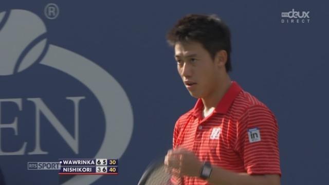 Stan Wawrinka (SUI-3) – Kei Nishikori (JPN-10) (6-3 5-7). Le Japonais s'impose dans la 2e manche [RTS]