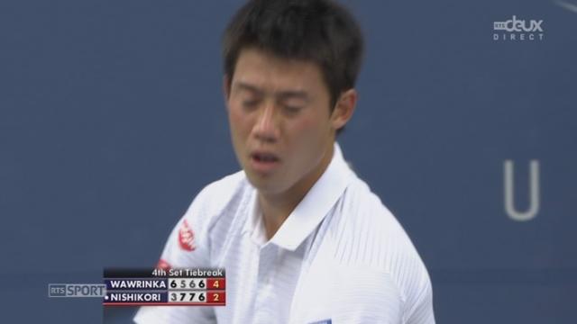 Stan Wawrinka (SUI-3) – Kei Nishikori (JPN-10) (6-3 5-7 6-7 (7-9) 7-6 (7-5)). Le Suisse arrache une 5e manche [RTS]
