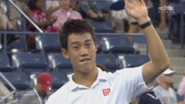 Stan Wawrinka (SUI-3) – Kei Nishikori (JPN-10) (6-3 5-7 6-7 (7-9) 7-6 (7-5) 4-6). L'exploit du Japonais, qui se qualifie pour les demi-finales en 5 manches [RTS]