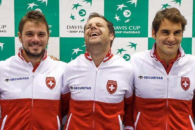 """La bonne humeur est au rendez-vous dans le """"team"""" suisse. [Salvatore Di Nolfi - Keystone]"""