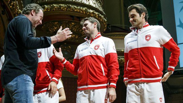 L'ancien joueur Marc Rosset salue l'équipe suisse 2014. [Salvatore Di Nolfi - Keystone]