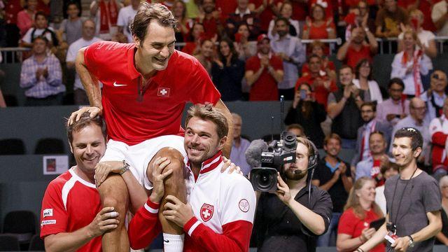Roger Federer qualifie la Suisse en finale de la Coupe Davis. [Salvatore Di Nolfi - Keystone]