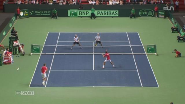 Tennis- Coupe Davis: les plus belles images de la rencontre Suisse-Italie à Palexpo (GE) + analyse de Marc Rosset en prévision de la finale contre la France (1-2) [RTS]