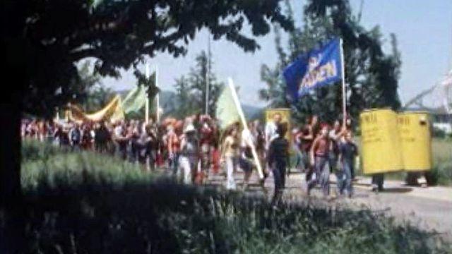 Une foule de manifestants protestent contre le nucléaire en Argovie. [RTS]