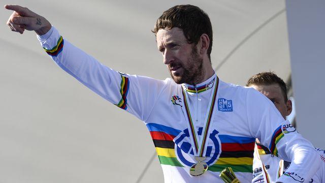 Médaillé d'argent en 2011 et 2013, Bradley Wiggins décroche enfin l'or mondial en contre-la-montre. [Dirk Waem  - AFP]