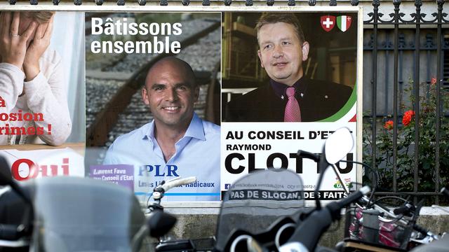 L'élection opposait principalement le PLR Laurent Favre et l'UDC Raymond Clottu. [Keystone]