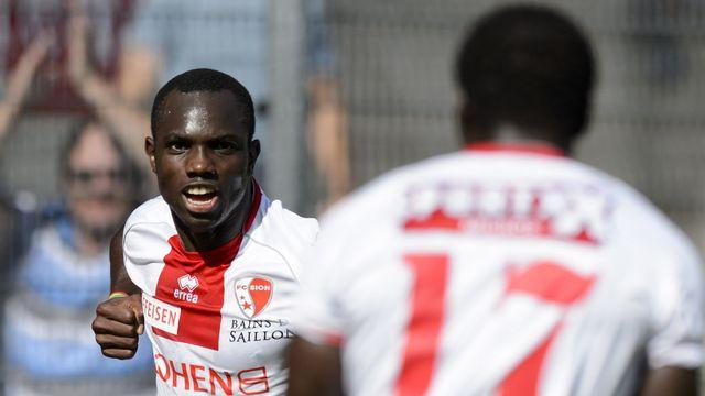 Le joueur valaisan Konate Moussa célèbre son goal. [Laurent Gillieron - Keystone]