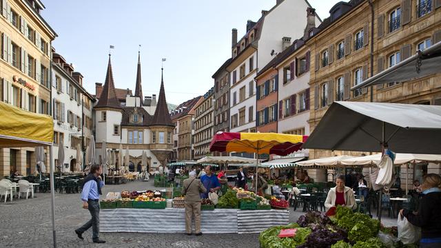 La place des Halles, au centre-ville de Neuchâtel. [Keystone]