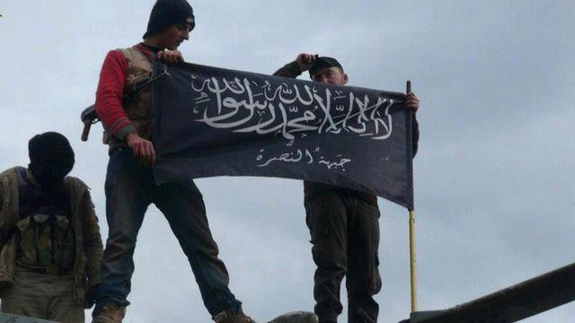 Des combattants du groupe Al-Nosra dans la province d'Idlib au nord de la Syrie. [Keystone]