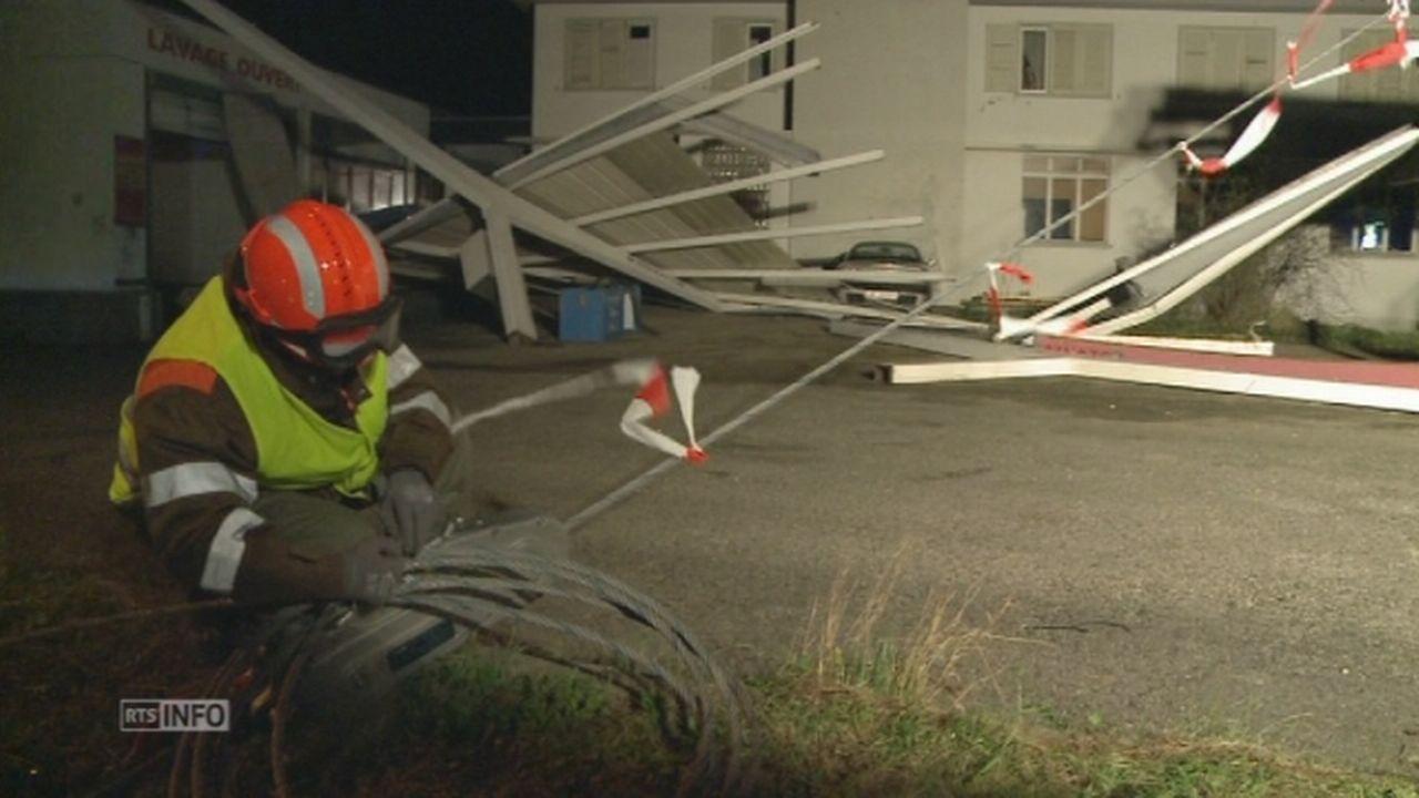 Les dégâts causés par la tempête Gonzalo à Bevaix (NE) [RTS]