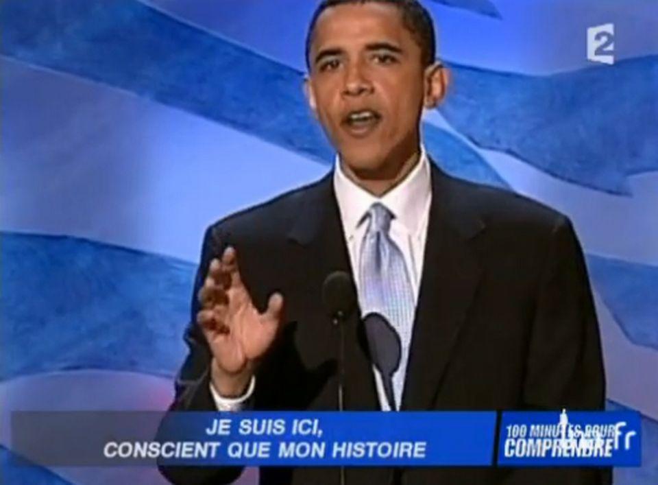 Barack Obama lors de son discours au congrès démocrate du 27 juillet 2004. [INA]