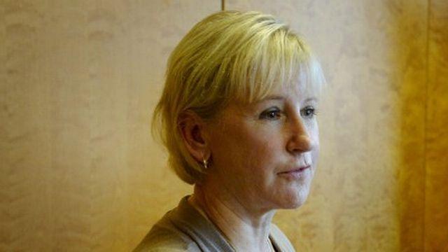 La cheffe de la diplomatie suédoise Margot Wallström (g.) lors d'une visite en Finlande. [Markku Ulander/Lehtikuva - AFP]