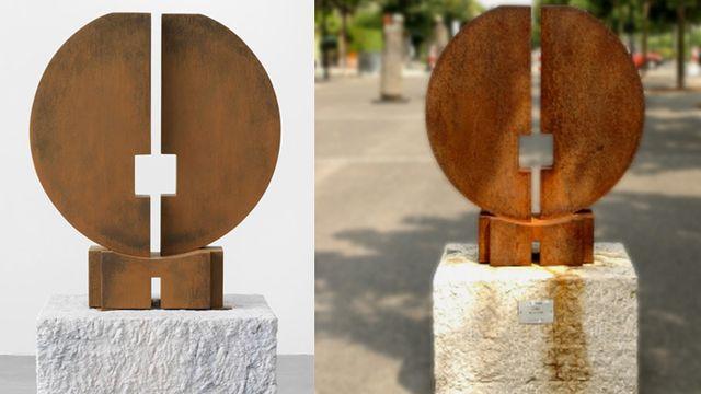 "A gauche, la sculpture ""The Dawn"", de Valentin Carron (2014), et à droite, ""Aube"", de Francesco Marino Di Teana (1977)."