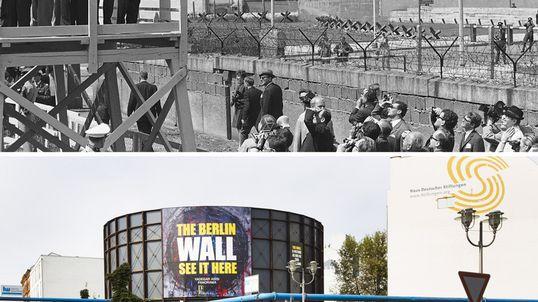 En visite à Berlin en 1963, le président américain John F. Kennedy observait Checkpoint Charlie. Aujourd'hui, c'est un lieu incontournable pour les touristes. [Markus Schreiber - AP]