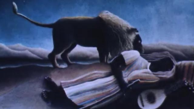 Tableau La bohémienne endormie du Douanier Rousseau. [RTS]