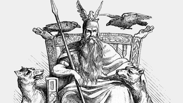 Odin sur son trône, illustration tirée du manuel de mythologie d'Alexander Murray publié en 1865. [D.P.]