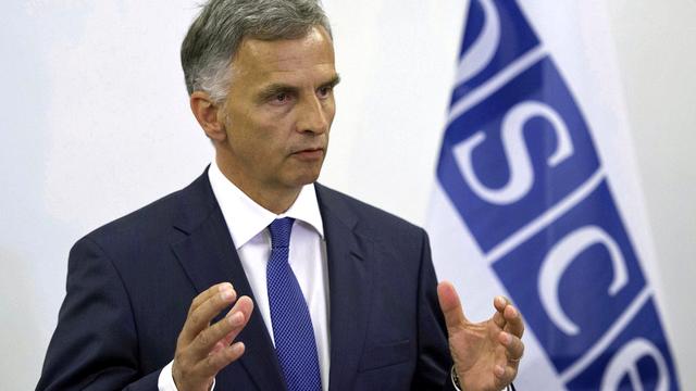 """L'OSCE reste un """"élément de la solution"""" à la crise ukrainienne, a affirmé Didier Burkhalter. [Gian Ehrenzeller - Keystone]"""
