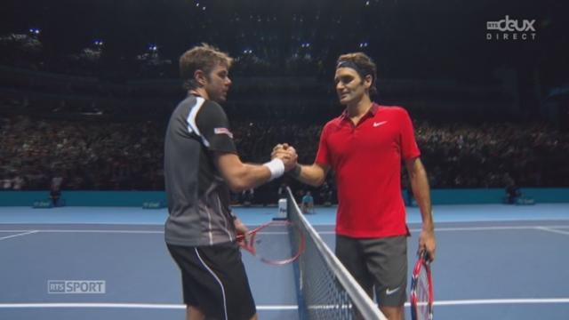 """1-2, Federer - Wawrinka (4-6, 7-5, 7-6): après avoir sauvé quatres balles de match, Federer s'impose et retrouvera le """"Djoker"""" en finale [RTS]"""