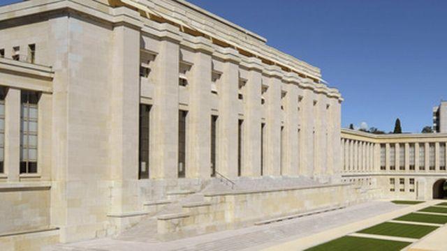 Le bâtiment prinicpal du Palais des Nations à Genève. [Martial Trezzini - Keystone]
