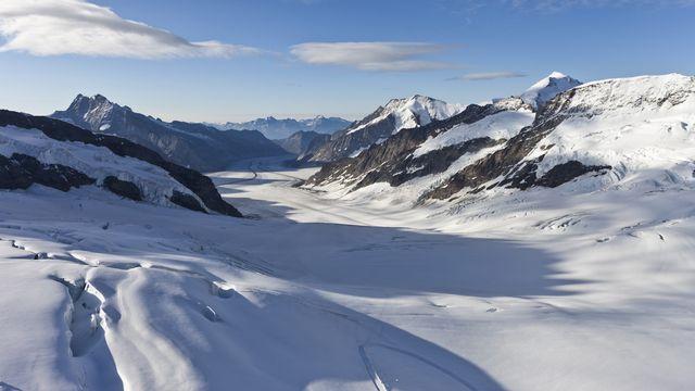 La plus grande partie de la glace suisse provient de quelques géants minoritaires, comme le glacier d'Aletsch. [Gaetan Bally - Keystone]