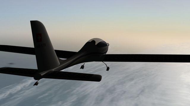 L'écoaventurier Raphaël Domjan veut atteindre un record d'altitude avec son avion solaire SolarStratos (image de synthèse). [SolarStratos]