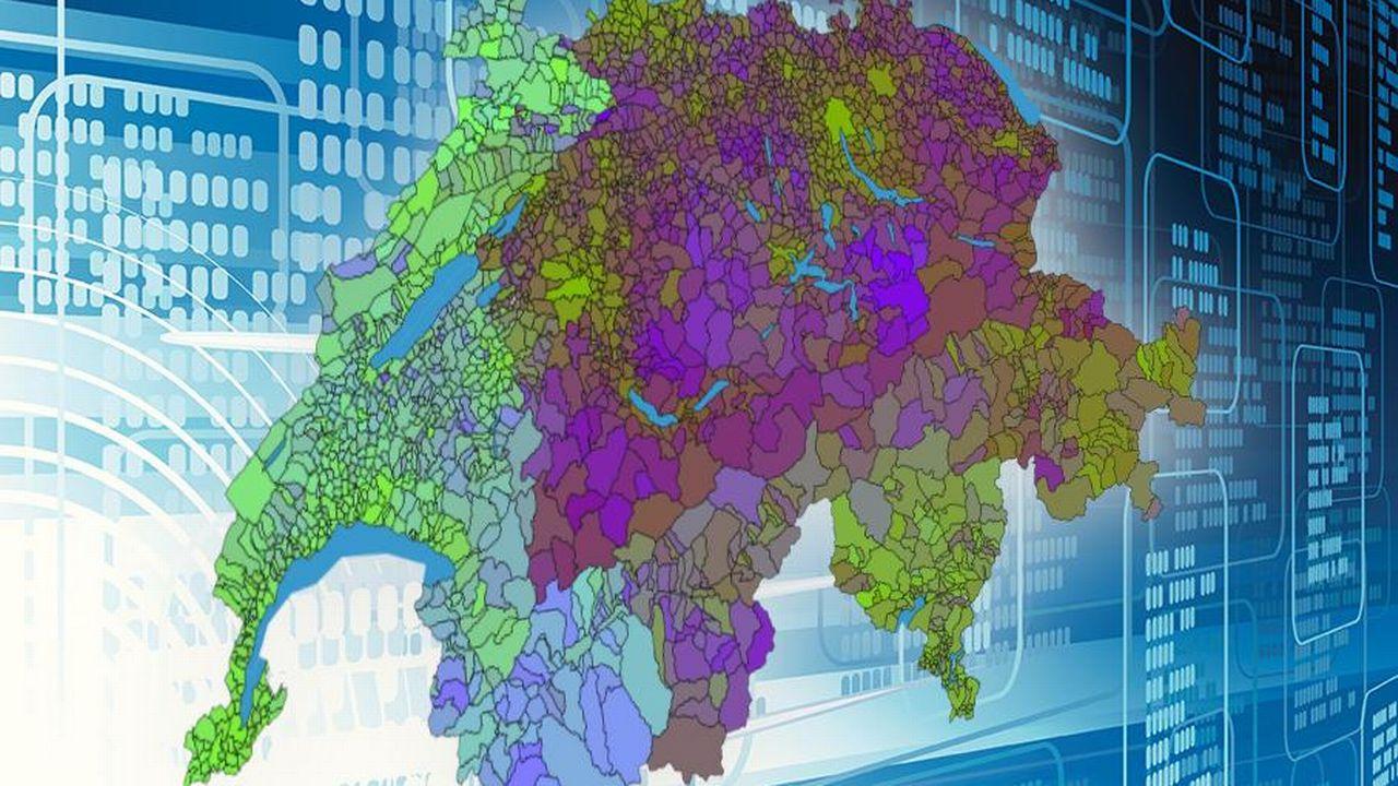 Les chercheurs de l'EPFL ont publié une carte associant des couleurs semblables aux communes ayant des habitudes de vote comparables. [predikon/Mediacom - EPFL]