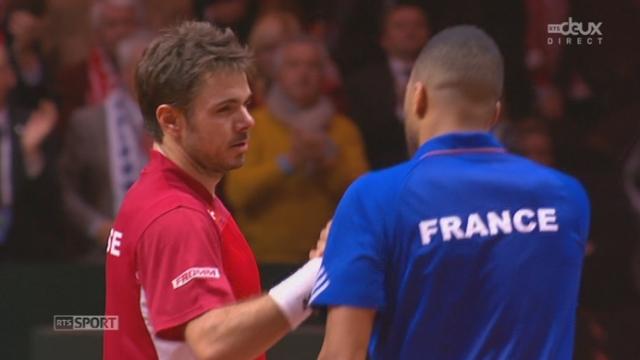 """Finale, Wawrinka - Tsonga (6-1, 3-6, 6-3, 6-2): """"Stan the Man"""" corrige Tsonga et amène le 1er point à l'équipe de Suisse [RTS]"""