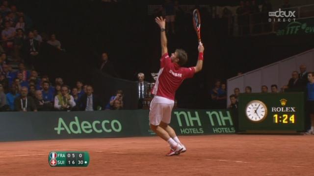 Finale, Federer-Wawrinka  - Benneteau-Gasquet (6-3, 7-5): la Suisse empoche le 2ème set sur un jeu blanc [RTS]