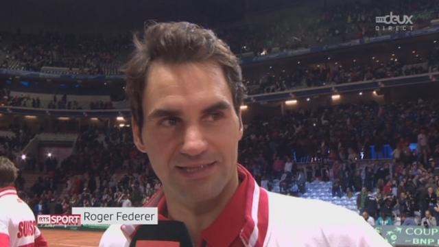 Finale, Federer-Wawrinka - Benneteau-Gasquet (6-3, 7-5, 6-4): interview de Federer après la victoire en double [RTS]
