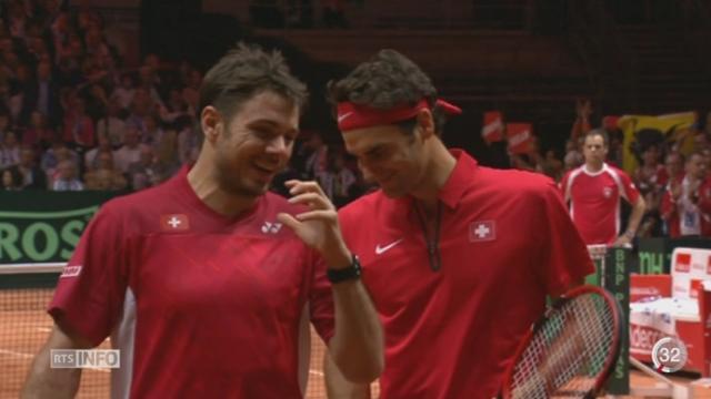 Tennis- Coupe Davis: les Suisses mènent 2 à 1 après avoir vaincu la paire française [RTS]
