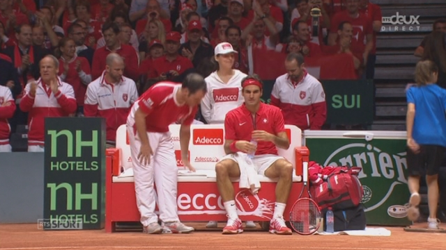Finale, Gasquet - Federer (1-2): balle de break pour Federer après une magnifique demi-volée [RTS]