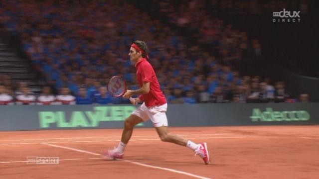 Finale, Gasquet - Federer (4-6, 2-6, 2-3): Federer conclut au filet et reprend l'avantage dans ce 3e set [RTS]