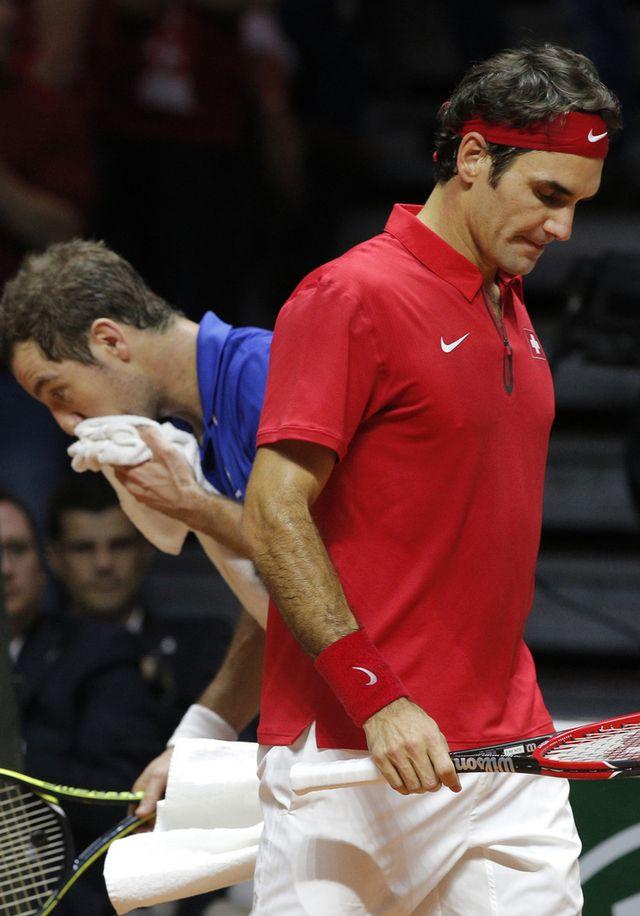 Richard Gasquet affronte Roger Federer dans le 4e match de la finale de la Coupe Davis [Keystone]