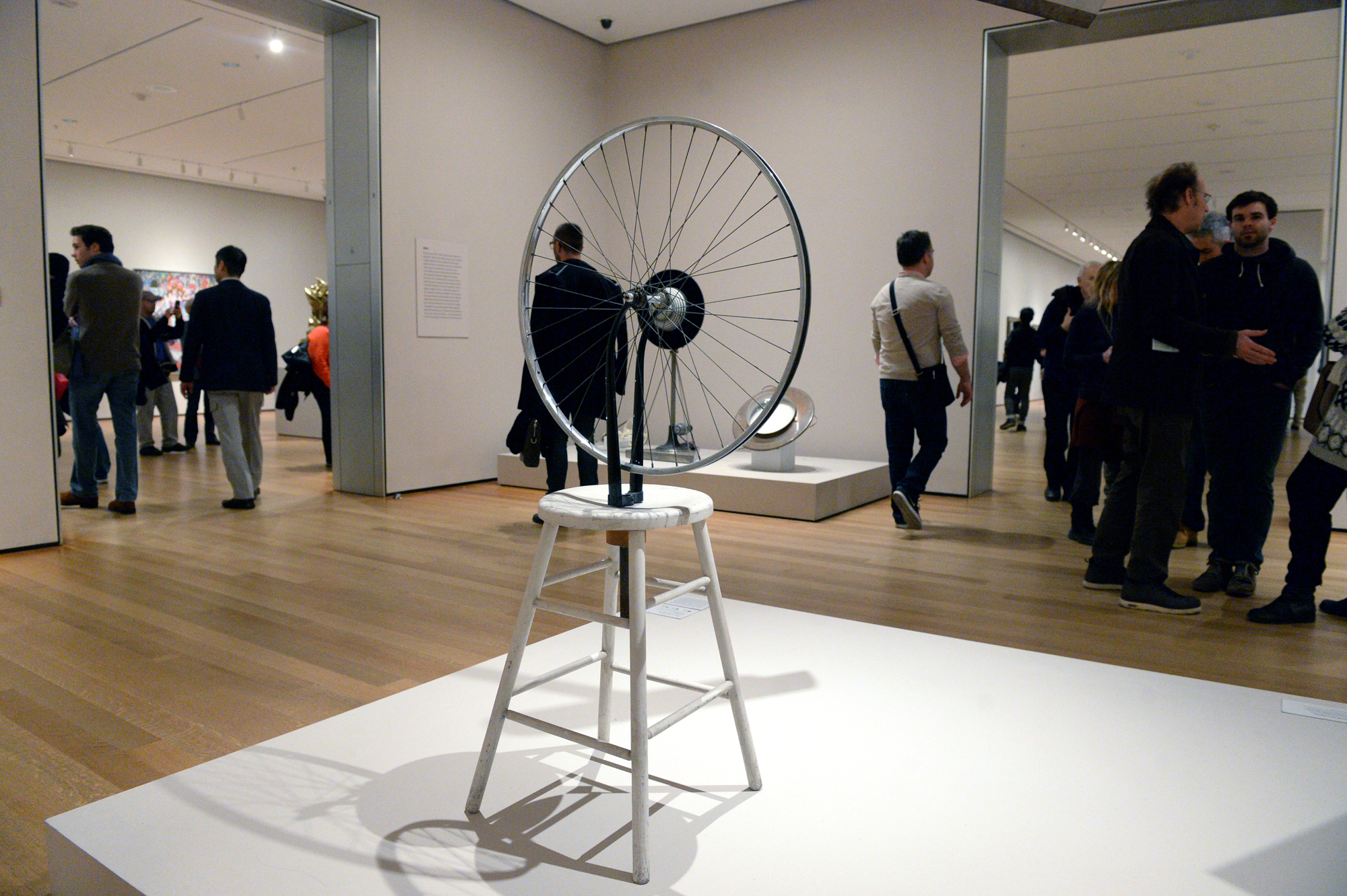 """Roue de bicyclette"", un ready made de Marcel Duchamp, au Musée d'art moderne de New York."