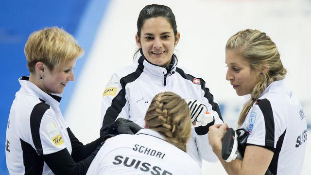 Binia Feltscher et son team joueront pour le titre samedi face au Danemark. [Jean-Christophe Bott - Keystone]