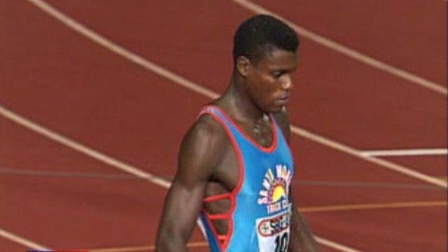 Carl Lewis face à Ben Johnson sur 100 mètres à Lausanne. [RTS]