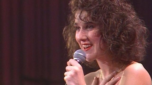 Céline Dion à la finale suisse de l'Eurovision en 1988. [RTS]