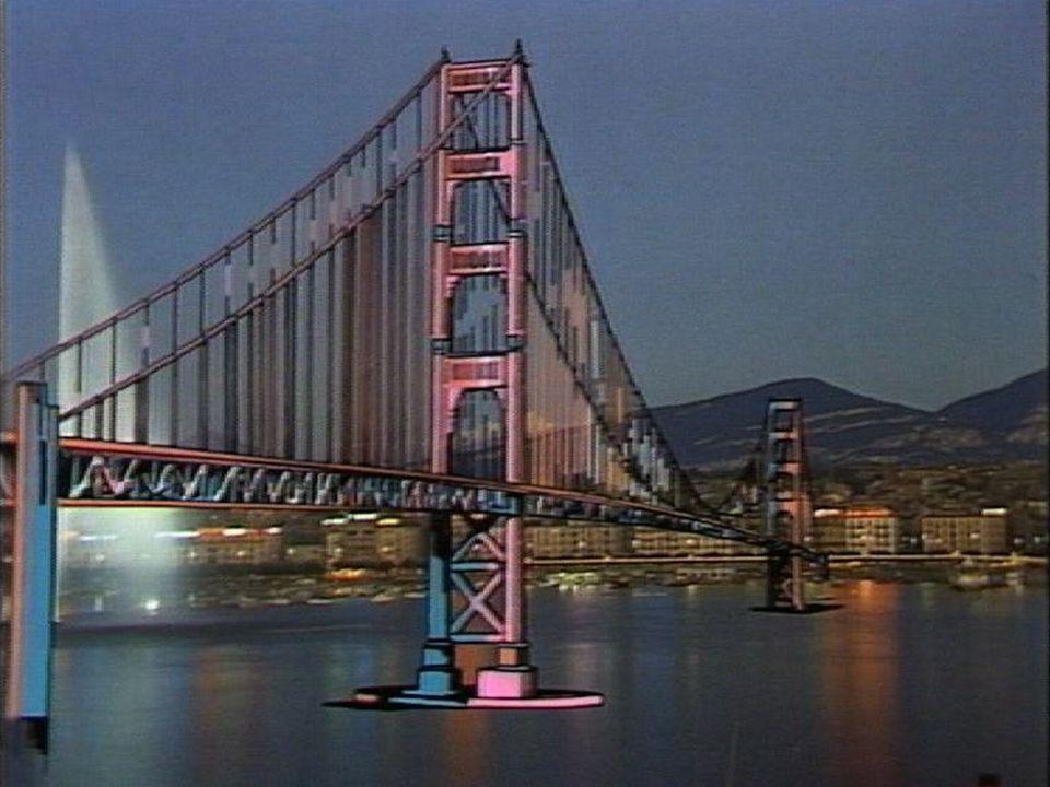 Projet de pont routier traversant la rade de Genève en 1986. [RTS]
